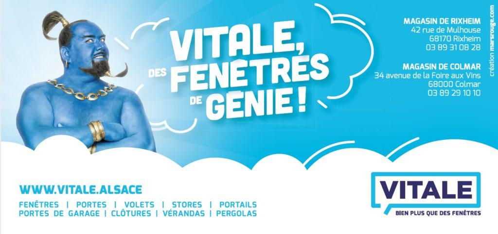 Pour la pose des fenêtres, Vitale intervient sur toute l'Alsace. Création graphique agence Mars Rouge à Mulhouse.